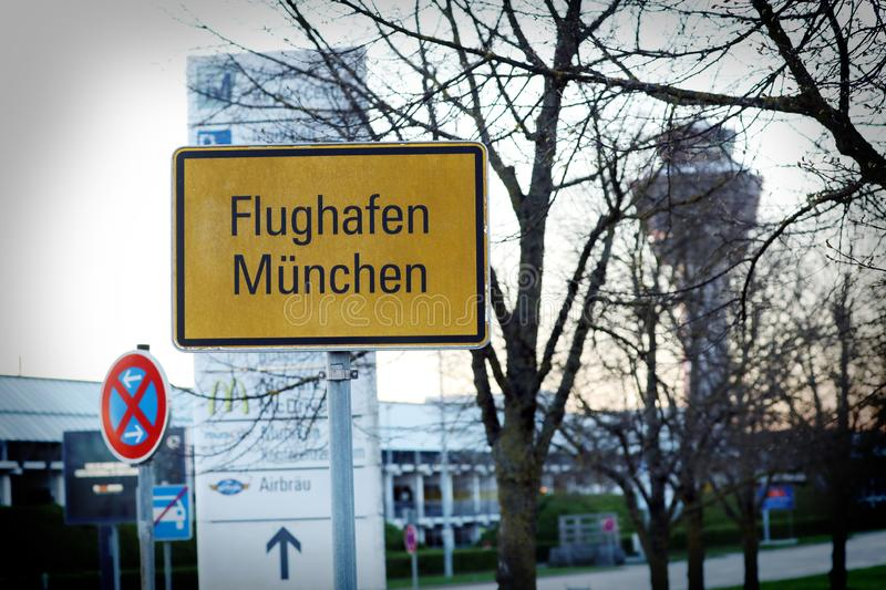 Munich Airport street plate royalty free stock photography