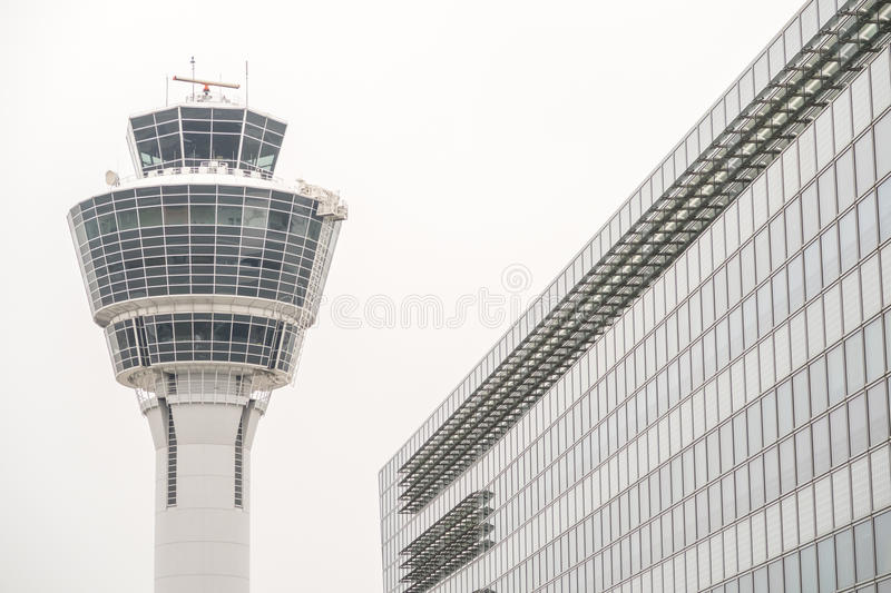 Munich airport tower stock photography