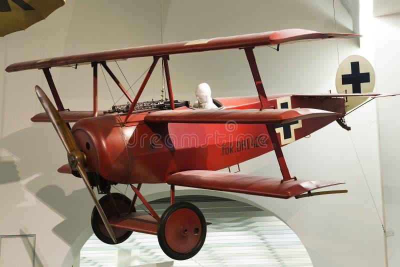 Munich, Alemania 31 de agosto de 2014: Triplano de Fokker imagen de archivo