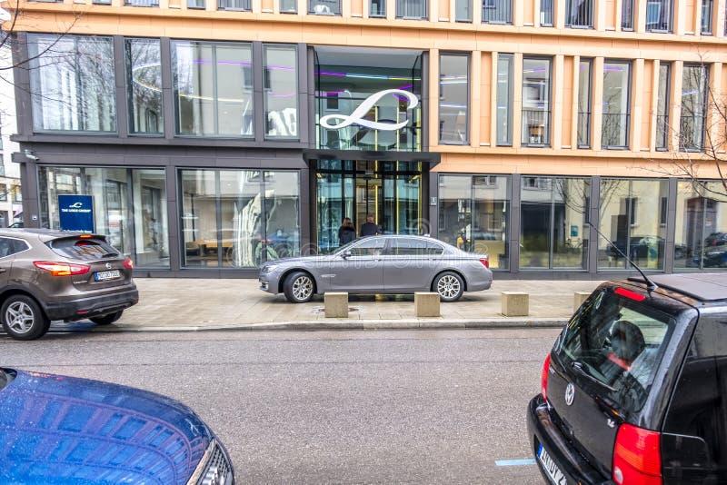 Munich, Alemania - 16 de febrero de 2018: Linde Group es un proveedor principal del mundo de industrial, de proceso y la especial foto de archivo libre de regalías