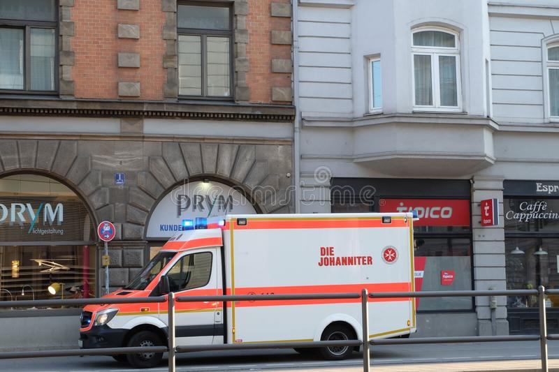 Parked Ambulance in Munich royalty free stock photo
