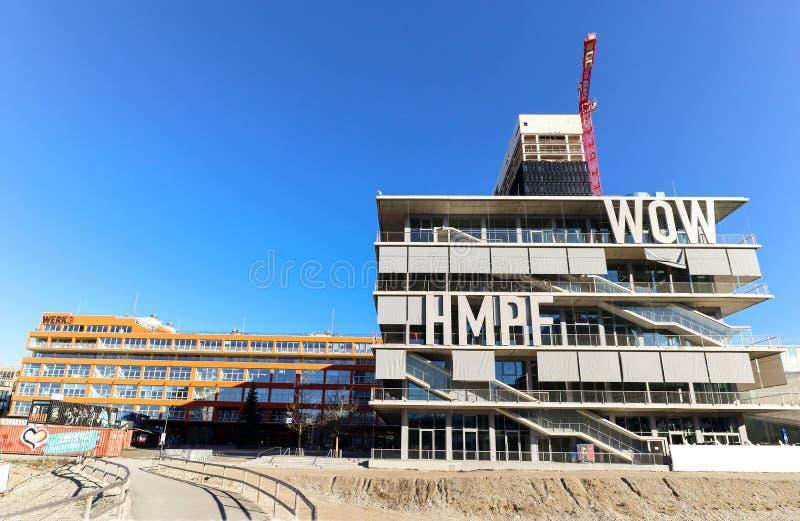 MUNICH BAVARIA GERMANY - DEC 30: New Munich district Werksviertel with construction site, modern offices, residential building, Hi stock photography