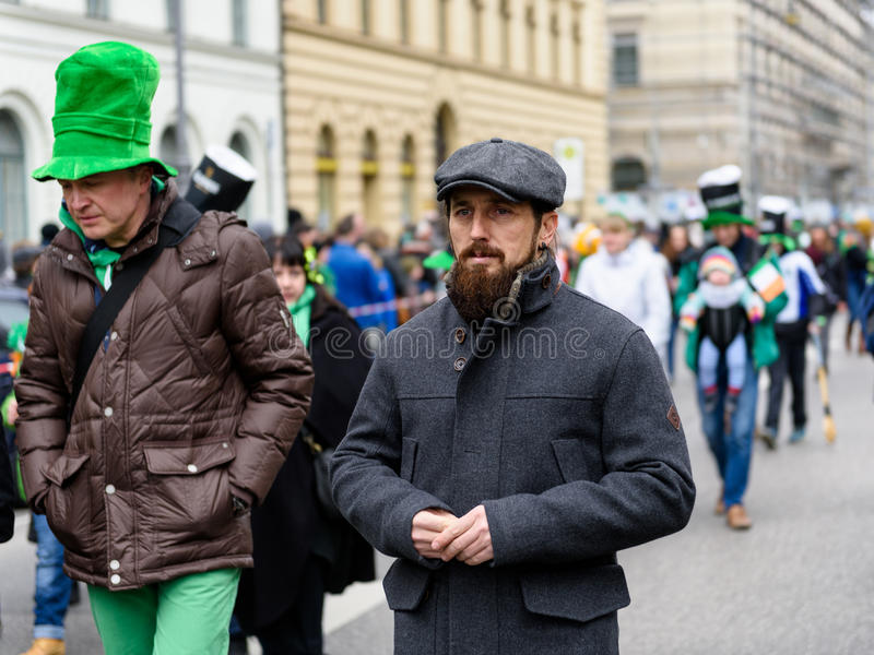 MUNICH, BAVARIA, GERMANY - MARCH 13, 2016: Close up on typical looking Irish man with beard at the St. Patrick`s Day Parade royalty free stock photo