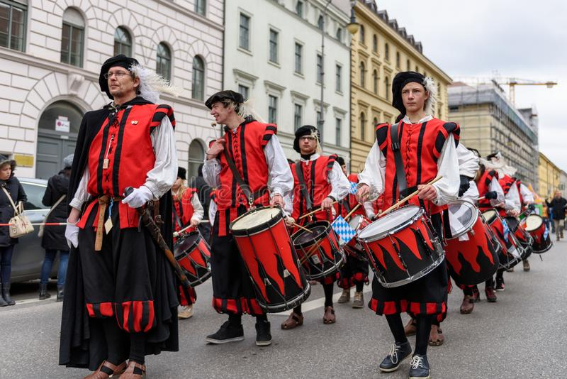 MUNICH, BAVARIA, GERMANY - MARCH 13, 2016: drummers group of Ka. Ufbeuren in Middle Ages clothing at the St. Patrick`s Day Parade royalty free stock photography