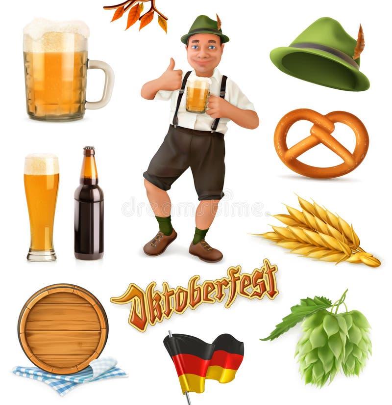 Munich Beer Festival Oktoberfest. 3d vector icon set. Funny cartoon charact vector illustration