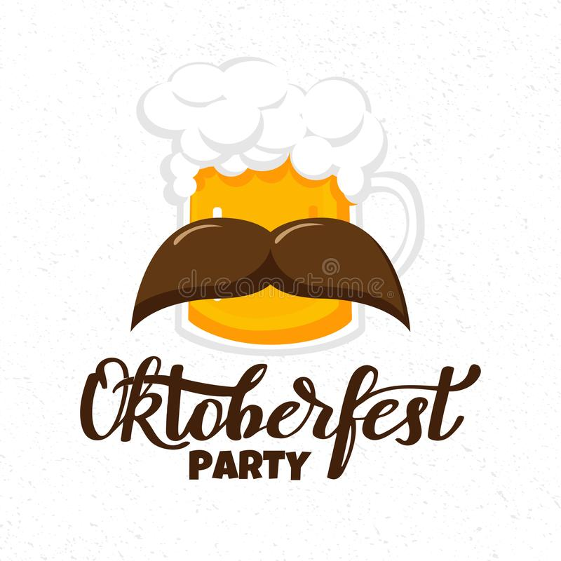 Munich Beer Festival Oktoberfest handwritten text with line art illustration of wheat heads and hop cones. Poster, banner, logo, w royalty free illustration