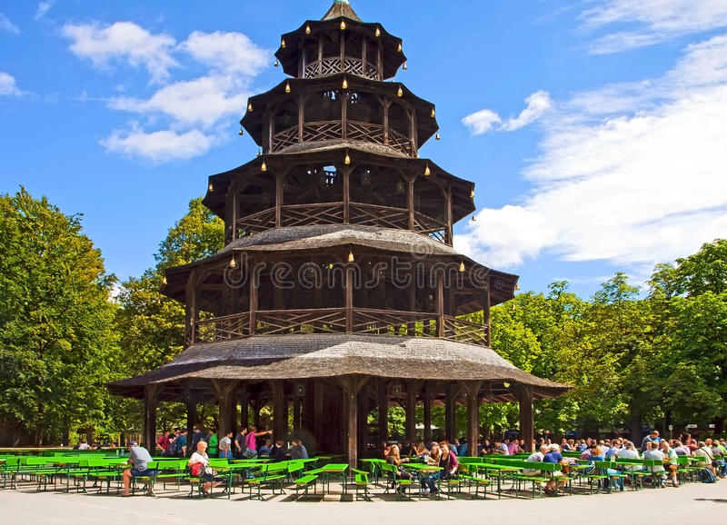 munich chinese tower beer garden at englisher garten editorial photography image of pagoda. Black Bedroom Furniture Sets. Home Design Ideas