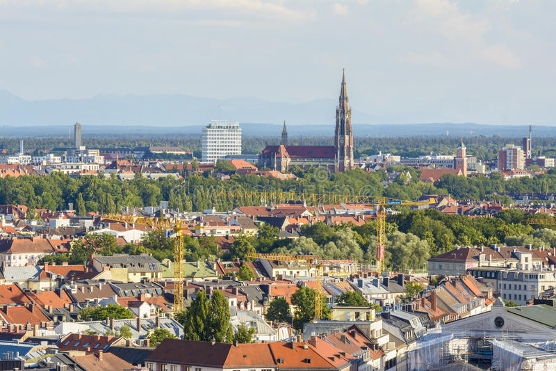 Munich cityscape, Bavaria, Germany. Aerial cityscape of Munich, Bavaria, Germany. The most famous attraction of Germany stock images