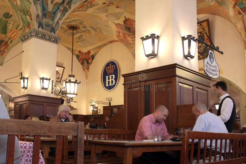 Munich, Germanu. Interior of the pub stock images