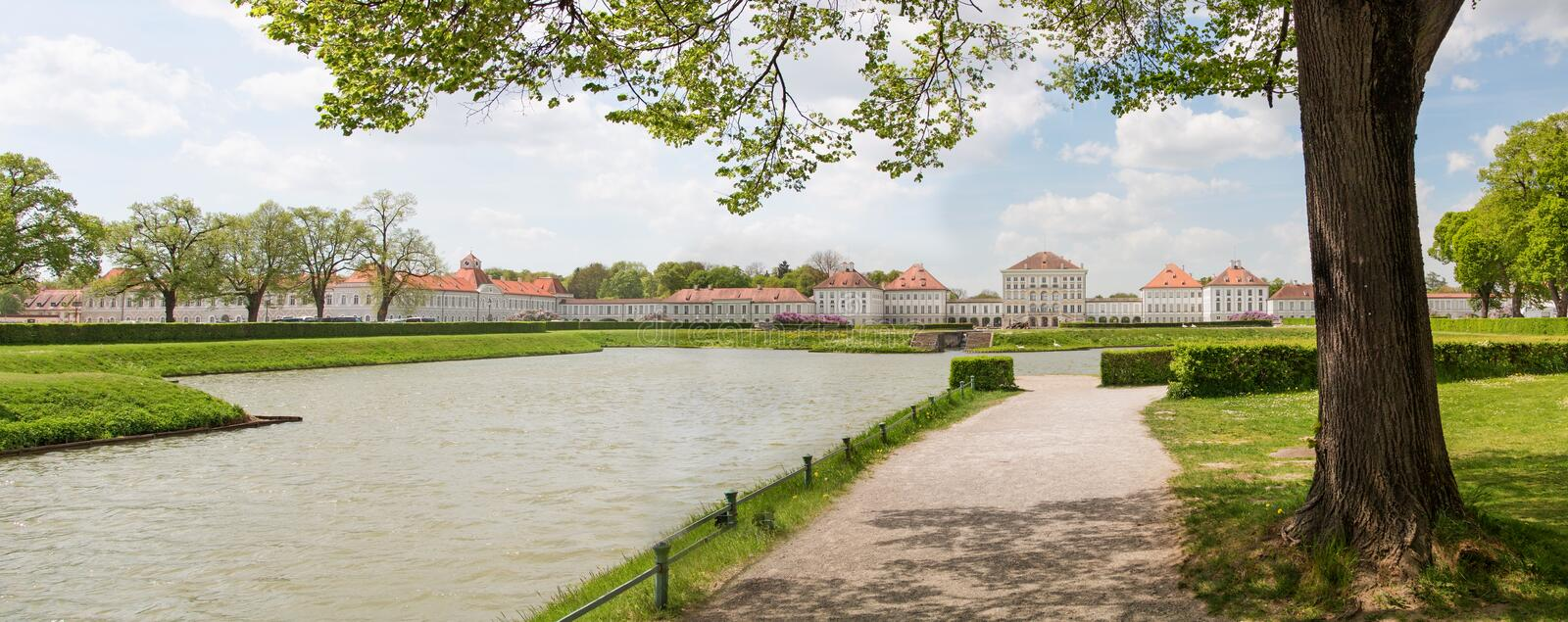 MUNICH, GERMANY - APRIL 25, 2018: Front side of Nymphenburg Palace (Schloss Nymphenburg) royalty free stock photos