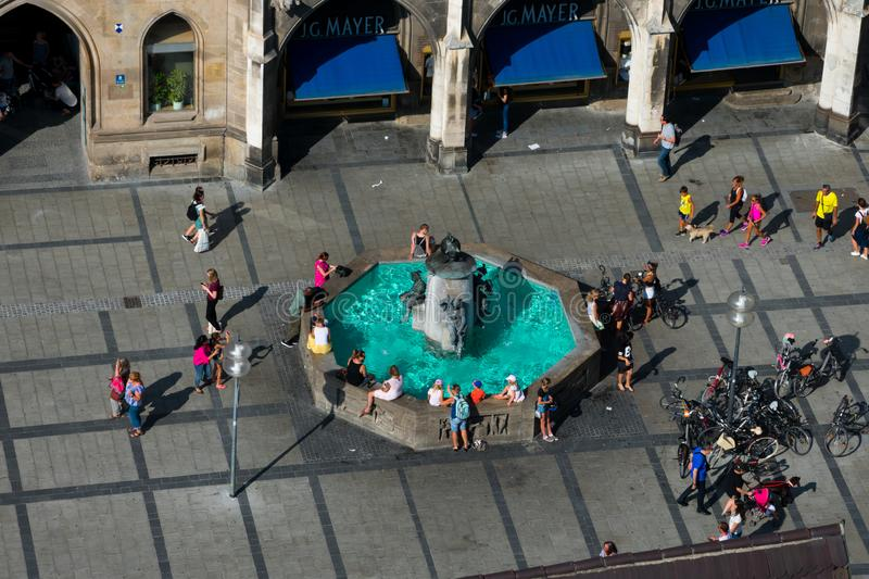 Aerial view of Mary`s Square Marienplatz. Fish`s Fountain. Munich, Germany. August 21, 2018. Aerial view of Mary`s Square Marienplatz. Fish`s Fountain stock images