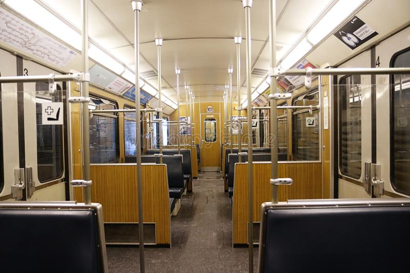 MUNICH, GERMANY - Empty wagon of urban subway. MUNICH, GERMANY - Interior of empty wagon of urban underground city lines stock image