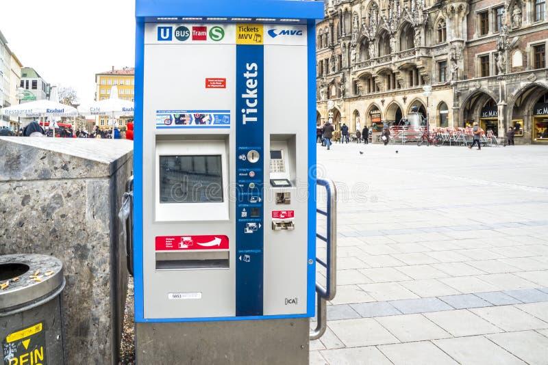 Munich , Germany - February 15 2018 : Machine selling tickets on the Marienplatz.  stock image