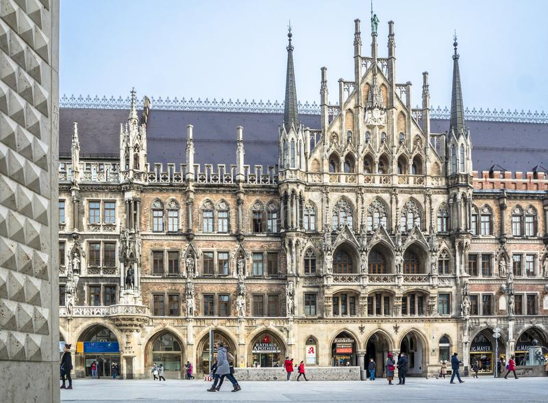 Munich , Germany - February 15 2018 : People walking on the Marienplatz. In the city stock photos