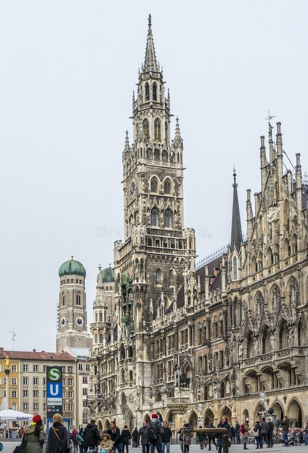 Munich , Germany - February 15 2018 : People walking on the Marienplatz. In the city stock image