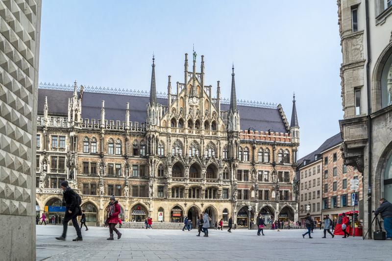 Munich , Germany - February 15 2018 : People walking on the Marienplatz. In the city royalty free stock image