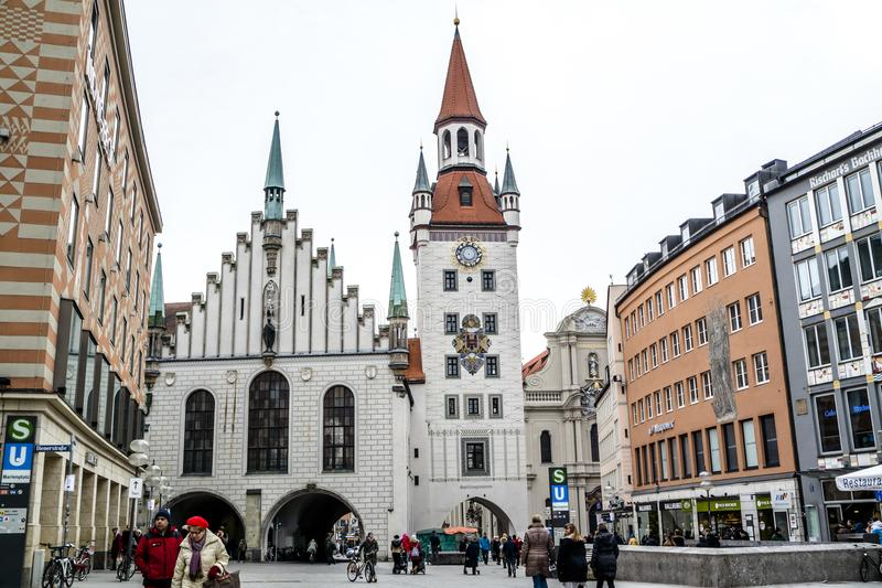 Munich , Germany - February 15 2018 : People walking on the Marienplatz. In the city royalty free stock photos