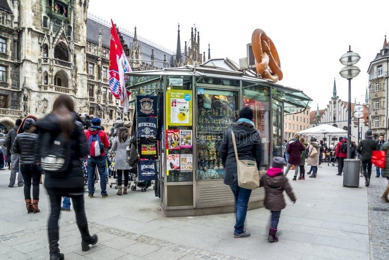 Munich , Germany - February 15 2018 : Souvenir shop selling stuff on th Marienplatz.  royalty free stock images