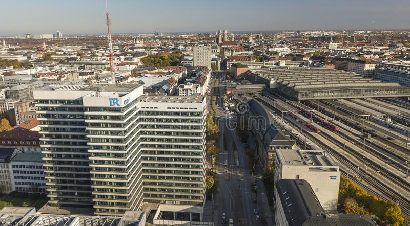 Munich,Germany 17/10/2017: Headquarters of the public broadcaster ARD/Bayerische Rundfunk in Munich. Munich,Germany 17 10 2017: Ongoing discussion whether the royalty free stock photography