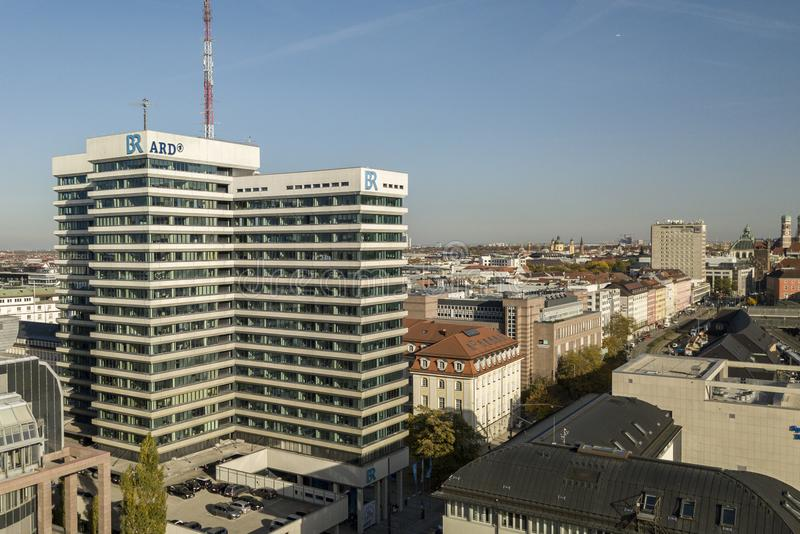 Munich,Germany 17/10/2017: Headquarters of the public broadcaster ARD/Bayerische Rundfunk in Munich. Munich,Germany 17 10 2017: Ongoing discussion whether the stock image