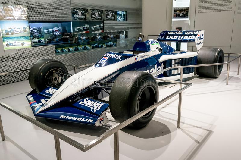 Munich, Germany - March 10, 2016: Formula One car of BMW Sauber team in BMW Welt museum in Munich, Germany. BMW Sauber was the 2nd F1 team in 2007 and the 3rd royalty free stock photography