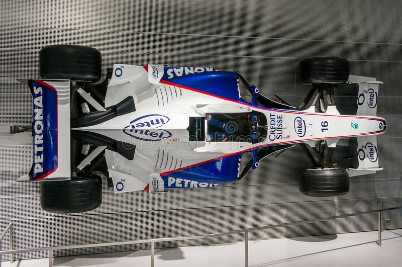 Munich, Germany - March 10, 2016: Formula One car of BMW Sauber team in BMW Welt museum in Munich, Germany. BMW Sauber was the 2nd F1 team in 2007 and the 3rd royalty free stock images