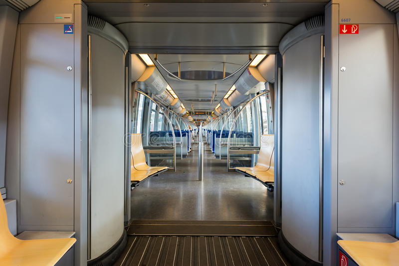 Munich Germany Modern Subway Train Interior. Munich Germany Modern Subway Train royalty free stock photos