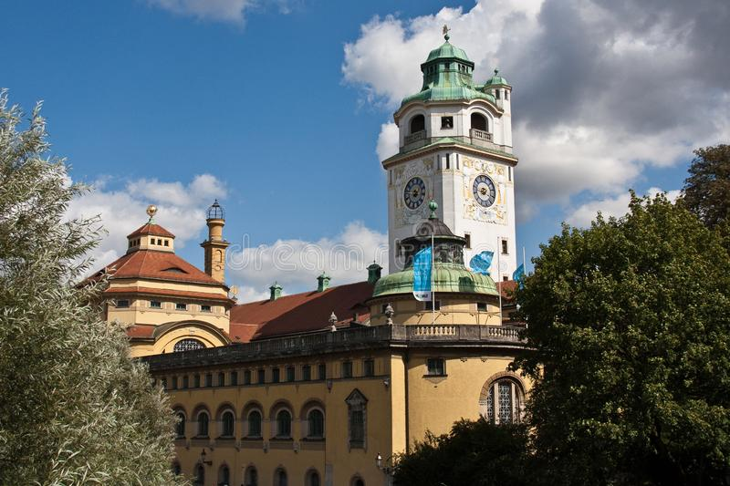 Munich, Germany: The Mueller`sche Volksbad located at the river Isar royalty free stock images