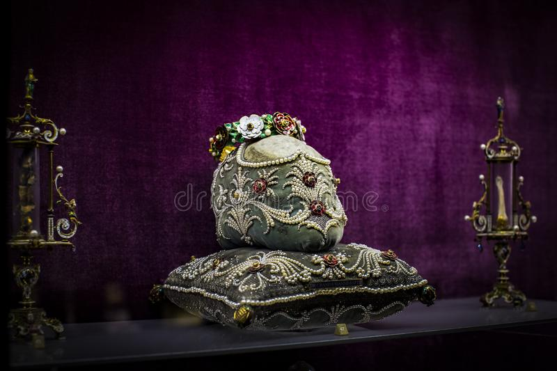 The collection of holy relics in the museum residence Munich Residenz, the Bavarian kings. MUNICH, GERMANY - NOVEMBER 27, 2018 : The collection of holy relics royalty free stock photo