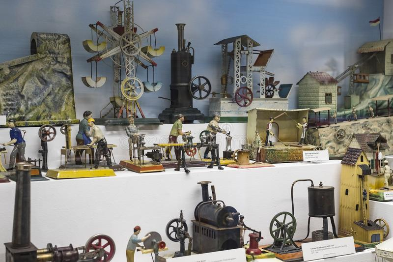 Collection of toys in the Toy Museum in the old tower of the City Hall, created by Ivan Steiger in 1983. MUNICH, GERMANY - NOVEMBER 23, 2018 : Collection of stock photo