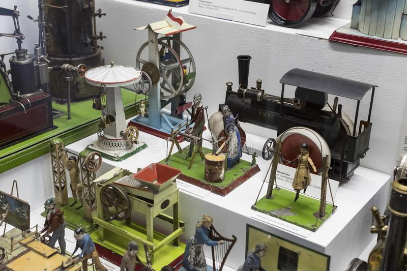Collection of toys in the Toy Museum in the old tower of the City Hall, created by Ivan Steiger in 1983. MUNICH, GERMANY - NOVEMBER 23, 2018 : Collection of stock image