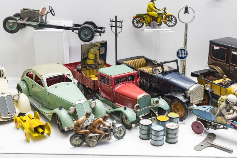 Collection of toys in the Toy Museum in the old tower of the City Hall, created by Ivan Steiger in 1983. MUNICH, GERMANY - NOVEMBER 23, 2018 : Collection of royalty free stock photo