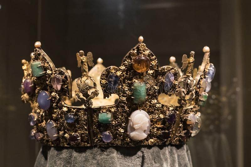 Values and artifacts Treasury of the Bavarian kings in the residence of the Bavarian kingdom in Munich. MUNICH, GERMANY - NOVEMBER 27, 2018 :Values and stock photos