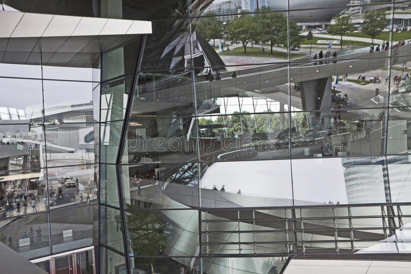 Munich, Germany - reflections on the glass facade of BMW World royalty free stock image