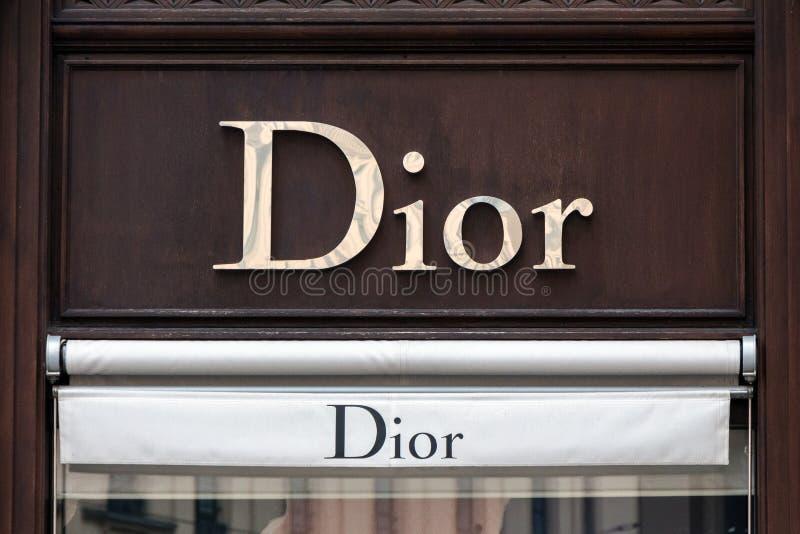 Dior logo on Dior`s shop stock photos