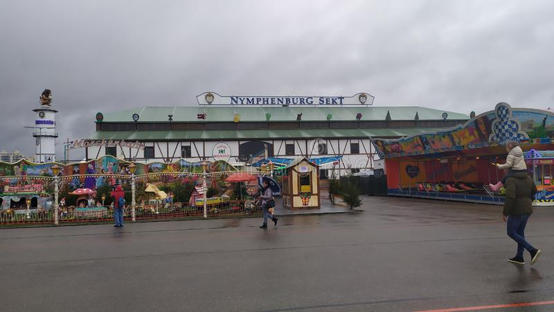 Nymphenburg sekt tent in Oktoberfest 2019 in Theresienwiese area, Munich, Germany. Munich, Germany, september 23, 2019: Nymphenburg sekt tent in Oktoberfest 2019 royalty free stock photo