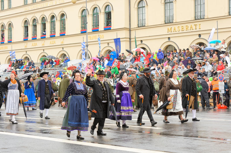 Munich, Germany, September 18, 2016: The Traditional Costume Parade during Octoberfest 2016 in Munich stock image