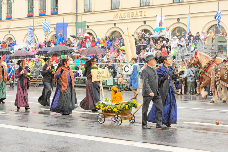 Munich, Germany, September 18, 2016: The Traditional Costume Parade during Octoberfest 2016 in Munich royalty free stock photos