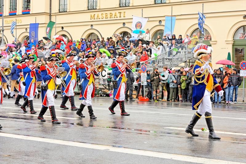 Munich, Germany, September 18, 2016: The Traditional Costume Parade during Octoberfest 2016 in Munich. German people wearing traditional costumes marching stock image