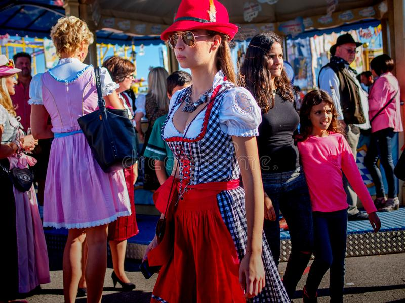 Munich, Germany - September 21: Unidentified girl at the Oktoberfest on September 21, 2015 in Munich, Germany stock image