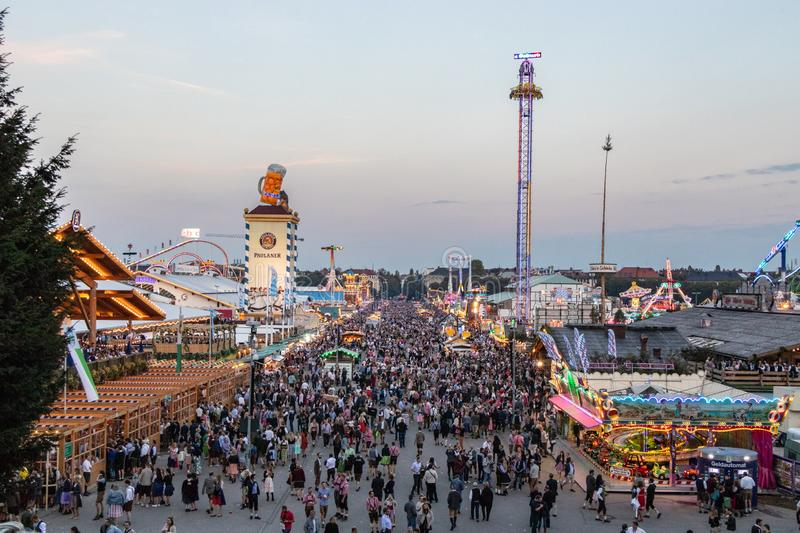 Munich, Germany - September 8: View over the Oktoberfest in Munich. The Oktoberfest is the biggest beer festival of the world. People, bavaria, tradition stock photography