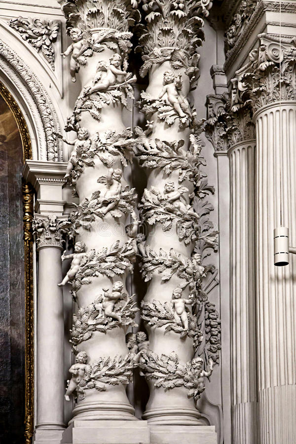 Munich, Germany - Theatine church, baroque architectural detail royalty free stock photography
