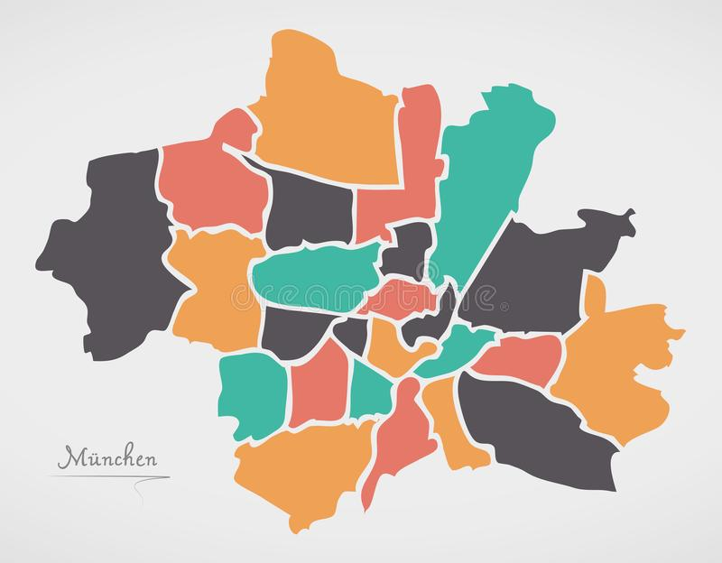 Munich Map with boroughs and modern round shapes. Illustration stock illustration