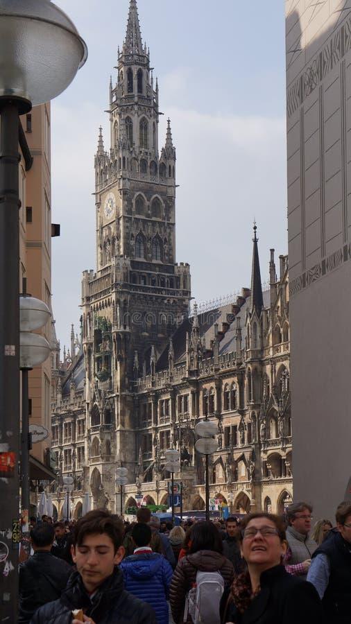 Munich Marienplatz Bayern nytt stadshus royaltyfri fotografi