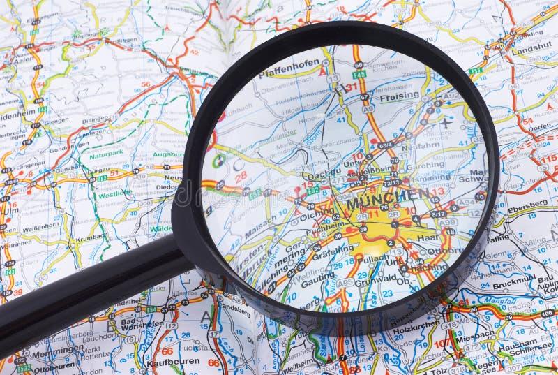Munich, Muenhen under loupe stock image