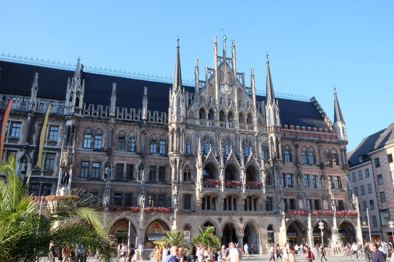 Munich New Town Hall. Travel view of Germany featuring Munich New Town Hall pinnacle. The image location is Europe stock photo