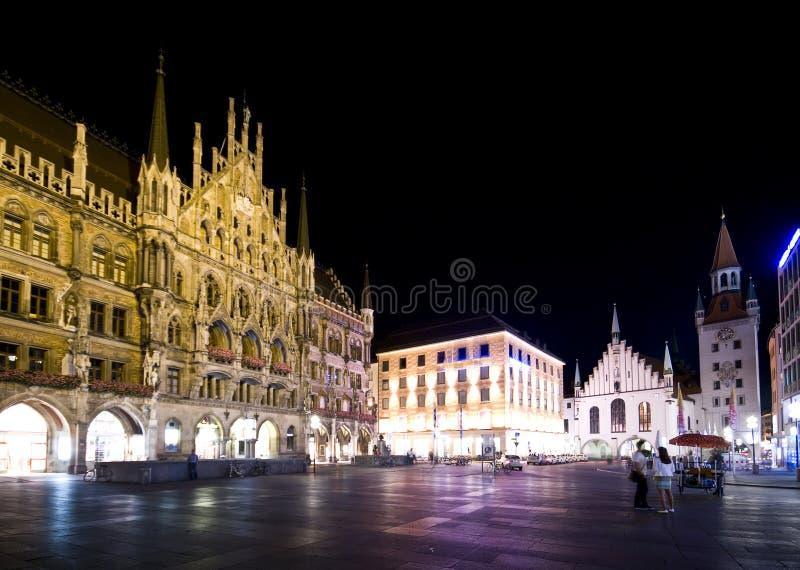 Munich At Night, Marienplatz Stock Photography