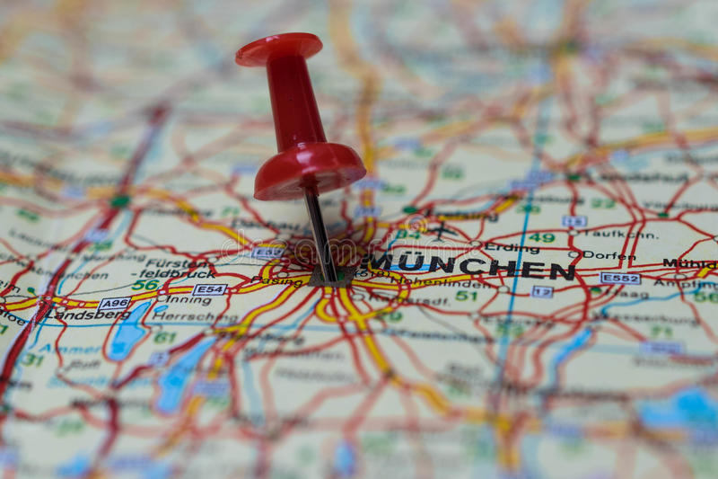 Munich no mapa fotografia de stock royalty free