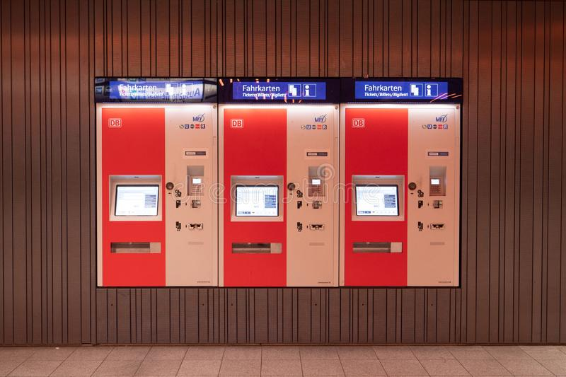 Munich - Oct 14: Ticket machine in train station on October 14,. 2018 in Munich,Germany stock image