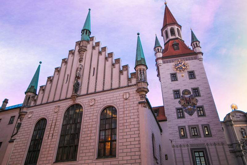 Munich Old Town Hall near Marienplatz town square at dusk, Germany royalty free stock photos